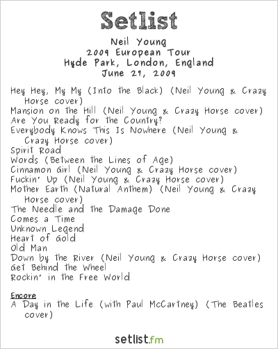 Neil Young Setlist Hard Rock Calling, London, England 2009