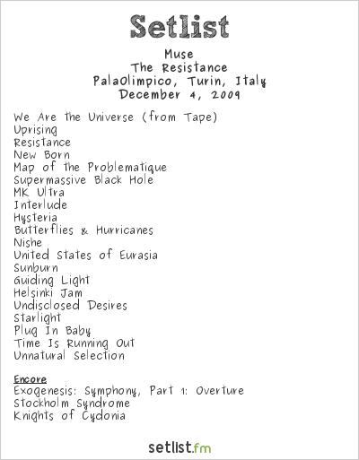 Muse Setlist Pala Isozaki, Turin, Italy 2009, Resistance European Arena Tour
