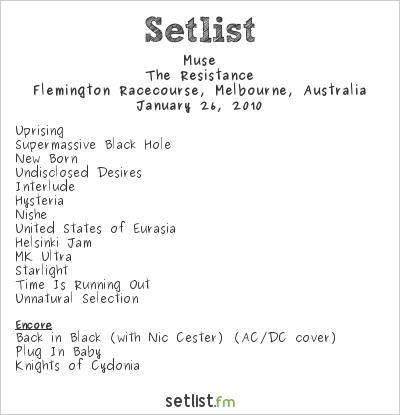 Muse Setlist Flemington Racecourse, Melbourne, Australia, Big Day Out 2010