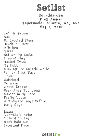 Soundgarden at Tabernacle, Atlanta, GA, USA Setlist