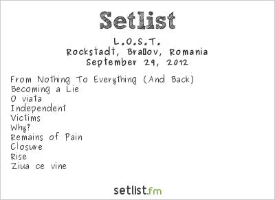 L.O.S.T. Setlist Rockstadt, Brasov, Romania 2012