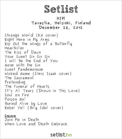 HIM Setlist Helldone 2012 2012