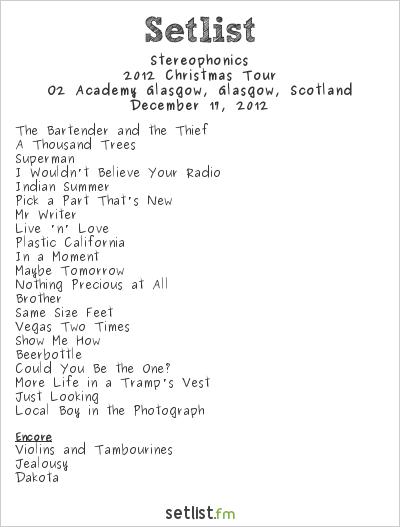 Stereophonics Setlist Glasgow Academy, Glasgow, Scotland, Christmas Tour 2012