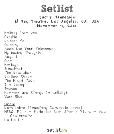 Jack's Mannequin Setlist El Rey Theatre, Hollywood, CA, USA 2012