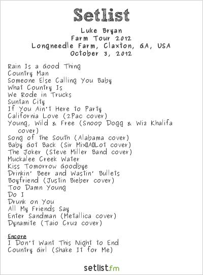 Luke Bryan Farm Tour Song List