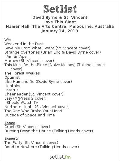 David Byrne & St. Vincent Setlist Hamer Hall, Melbourne, Australia 2013