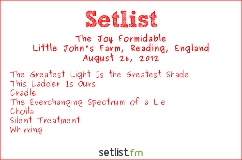 The Joy Formidable Setlist Reading Festival 2012 2012