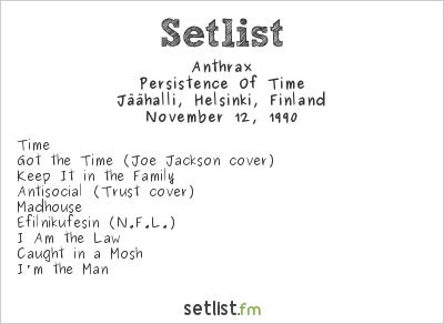 Anthrax Setlist Jäähalli, Helsinki, Finland 1990, Persistence Of Time