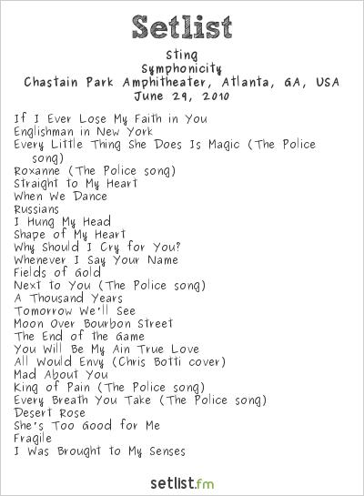 Sting at Chastain Park Amphitheater, Atlanta, GA, USA Setlist