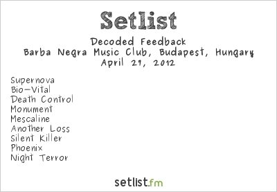 Decoded Feedback Setlist Industrial Booom - Reboot 2012 2012
