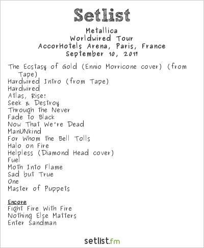 Metallica Setlist AccorHotels Arena, Paris, France 2017, WorldWired Tour