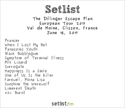 The Dillinger Escape Plan Setlist Hellfest 2017, European Tour 2017