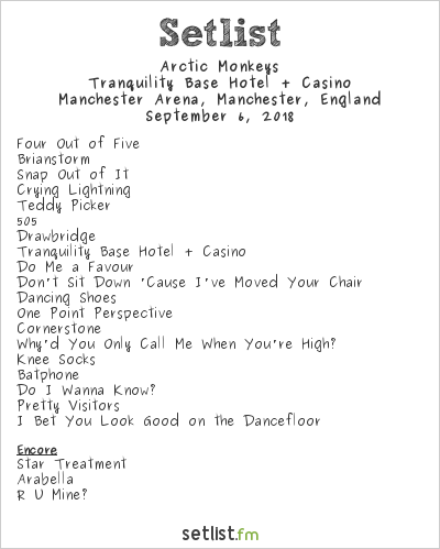 Arctic Monkeys Setlist Manchester Arena, Manchester, England 2018, Tranquility Base Hotel + Casino