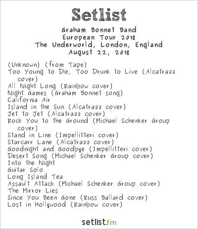 Graham Bonnet Band Setlist The Underworld, London, England, European Tour 2018
