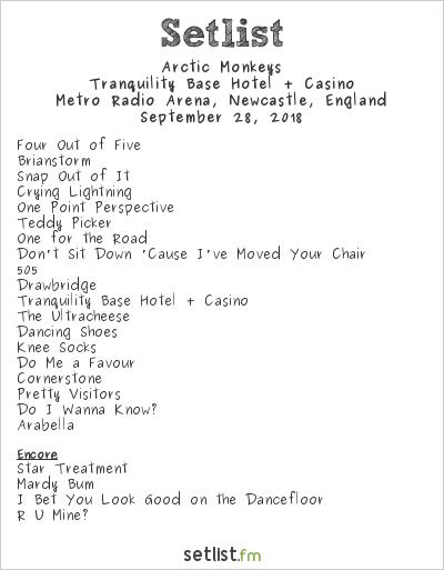 Arctic Monkeys Setlist Metro Radio Arena, Newcastle, England 2018, Tranquility Base Hotel + Casino