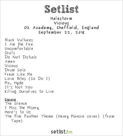 Halestorm Setlist O2 Academy, Sheffield, England 2018, Vicious