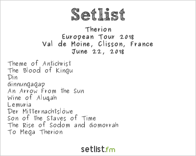 Therion Setlist Hellfest 2018 2018