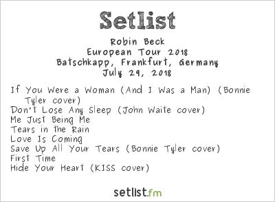 Robin Beck Setlist Batschkapp, Frankfurt, Germany, European Tour 2018