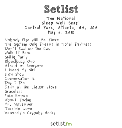 The National at Shaky Knees Festival 2018 Setlist
