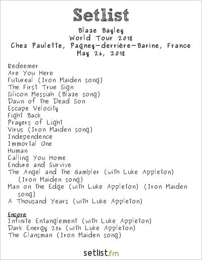 Blaze Bayley Setlist Chez Paulette, Pagney-derrière-Barine, France, World Tour 2018