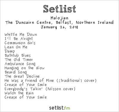 Malojian Setlist The Duncairn Centre, Belfast, Northern Ireland 2018
