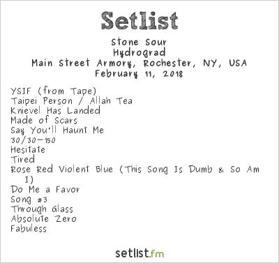 Stone Sour Setlist Main Street Armory, Rochester, NY, USA 2018, Hydrograd