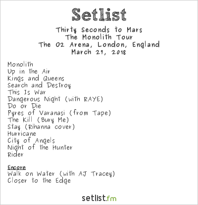Thirty Seconds to Mars Setlist The O2 Arena, London, England 2018, The Monolith Tour