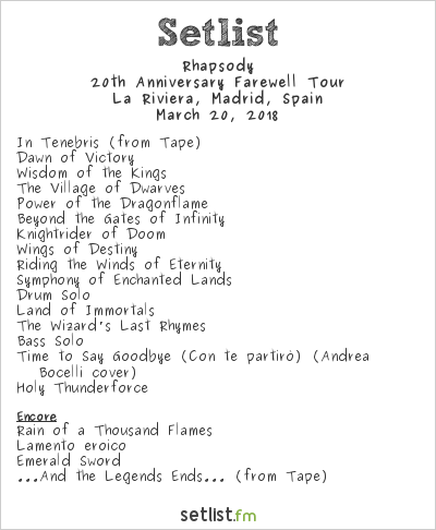 Rhapsody Setlist La Riviera, Madrid, Spain 2018, 20th Anniversary Farewell Tour