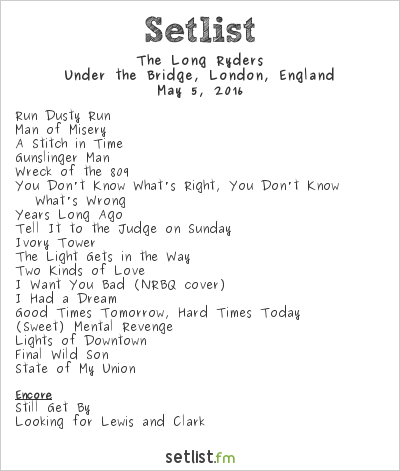 The Long Ryders Setlist Under the Bridge, London, England 2016