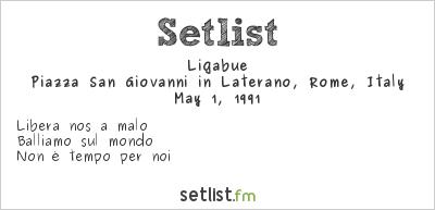 Ligabue Setlist Concerto del primo maggio 1991 1991