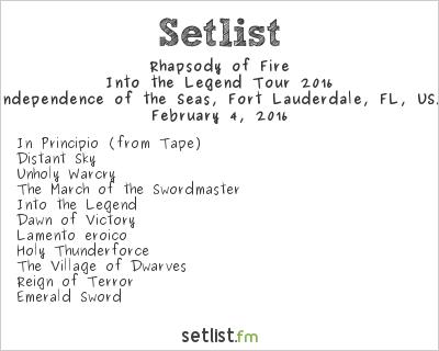 Rhapsody of Fire Setlist 70,000 Tons of Metal 2016 2016