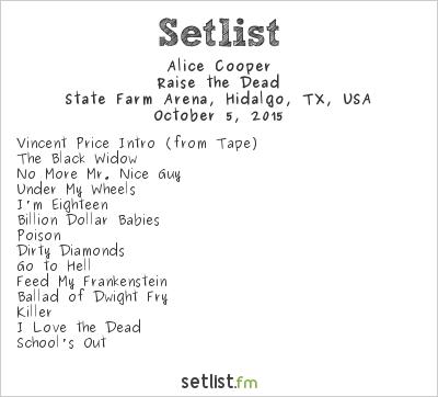 Alice Cooper at State Farm Arena, Hidalgo, TX, USA Setlist