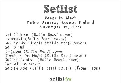 Beast In Black Setlist Metro Areena, Espoo, Finland 2015