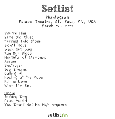 Phantogram Setlist Palace Theatre, St. Paul, MN, USA 2017