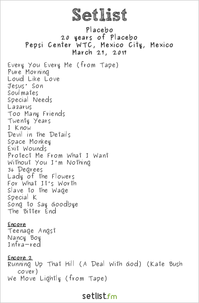Placebo Setlist Pepsi Center WTC, Mexico City, Mexico 2017, 20 Years of Placebo