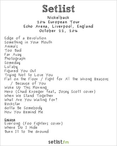 Nickelback Setlist Echo Arena, Liverpool, England 2016, 2016 European Tour
