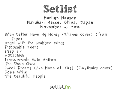 Marilyn Manson Setlist Knotfest Japan 2016 2016