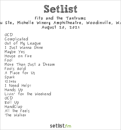 Fitz and the Tantrums Setlist Chateau Ste. Michelle Winery Amphitheatre, Woodinville, WA, USA 2021