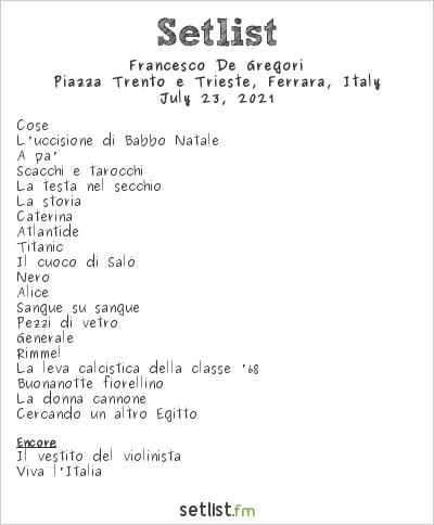 Francesco de Gregori at Piazza Trento e Trieste, Ferrara, Italy Setlist