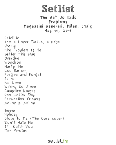 The Get Up Kids Setlist Magazzini Generali, Milan, Italy 2019, Problems