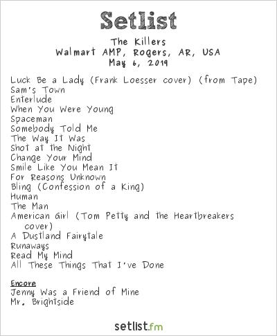 The Killers Setlist Walmart AMP, Rogers, AR, USA 2019