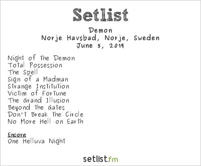 Demon Setlist Sweden Rock Festival 2019 2019