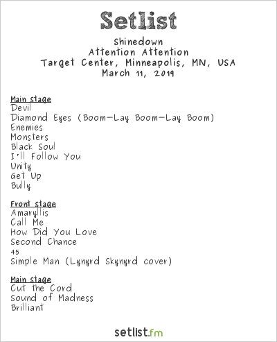 Shinedown Setlist Target Center, Minneapolis, MN, USA 2019, Attention Attention