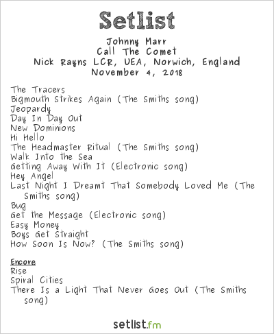 Johnny Marr Setlist Nick Rayns LCR, UEA, Norwich, England 2018, Call The Comet