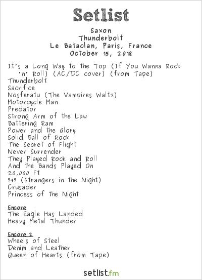 Saxon Setlist Le Bataclan, Paris, France 2018, Thunderbolt