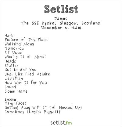 James Setlist The SSE Hydro, Glasgow, Scotland 2018