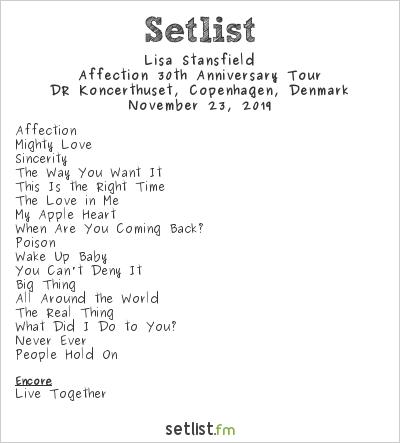 Lisa Stansfield Setlist DR Koncerthus, Copenhagen, Denmark 2019, Affection 30th Anniversary Tour