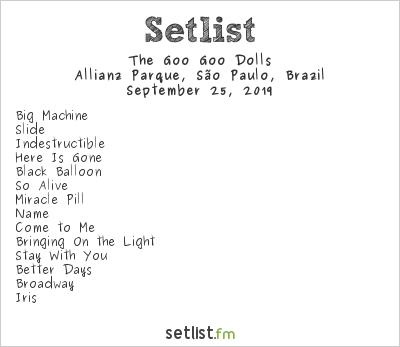 Goo Goo Dolls Setlist Allianz Parque, São Paulo, Brazil 2019