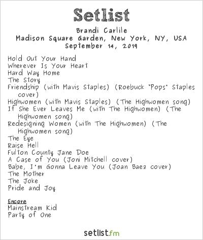 Brandi Carlile Setlist Madison Square Garden, New York, NY, USA 2019