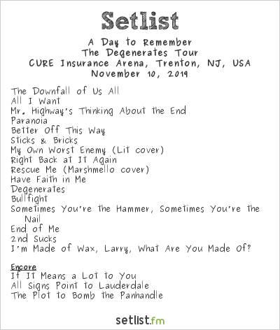 A Day to Remember Setlist CURE Insurance Arena, Trenton, NJ, USA 2019, The Degenerates Tour
